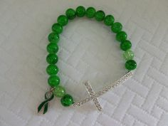 Emerald Green Bracelet with a Green Ribbon by CaseyRoseCollection, $14.00