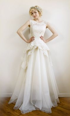 Mireille Silk organza and French lace wedding gown by Leanimal, $3722.00