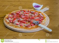 Delicious Crepe Pizza With Sausage On Wooden Board With Slicer Stock Photo - Image of lunch, italian: 91517738 Matcha, Pancakes Leger, Le Diner, Red Cabbage, Galette, Hawaiian Pizza, Yogurt, Sausage, Healthy Recipes