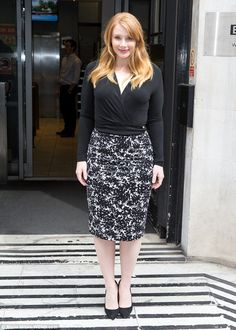 Monochrome magic: Bryce Dallas Howard stepped out in style for an appearance at BBC Radio 2 studios in the capital on Monday morning