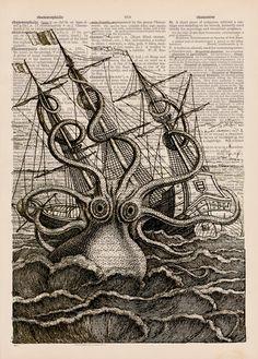 Giant Octopus/Kraken On A Raging Sea Vintage by EraPrints on Etsy