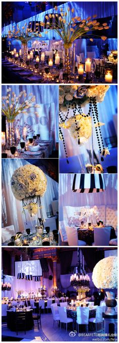 Centerpieces with uplighting really make a statement