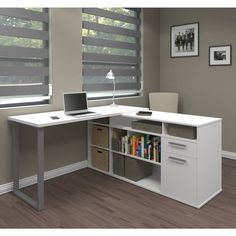Shop Bestar Solay L-Shaped Desk - On Sale - Overstock - 13219030 - White Home Office Desks, Home Office Furniture, Furniture Dolly, Cheap Furniture, Furniture Nyc, Office Table, Home Office Setup, Home Office Storage, Office Rug