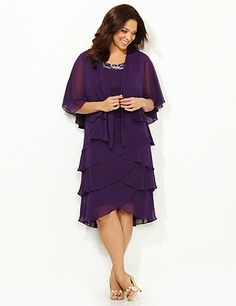 Our most romantic style yet, this two-piece style features a flowing chiffon jacket over a graceful, tiered-hem dress. Glistening beads light up the scoop neckline for a glamorous finish. Jacket: short sleeves. Dress: back V-neckline, bust darts, fully lined. Catherines dresses are expertly designed for the plus size woman.  <br /> <br /> FREE RETURN <br /> You can ship this style back to us for <br /> FREE! <br /> A free return shipping label will be provided with your order. catherines.com