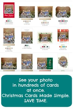 Save time when creating Christmas cards. See your photo in all your favorite designs in one click.