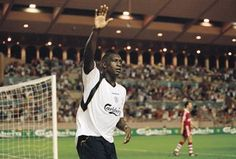 24 Aug 2001:  Emile Heskey of Liverpool celebrates scoring a goal during the UEFA European Super Cup final against Bayern Munich played at the Stade Louis II Satdium in Monaco.  Liverpool won the match 3 - 2.  Mandatory Credit: Michael Steele /Allsport