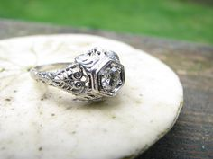 Gorgeous Edwardian to Art Deco 18K Old Cut Diamond Engagement Ring - Fiery Old Diamond - Stunning Filigree