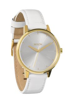 This baby will be on my wrist in a few days. The Kensington Leather - All White / Gold Patent   Nixon