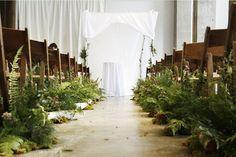 Woodsy-Fern-Lined-Wedding-Ceremony-Aisle