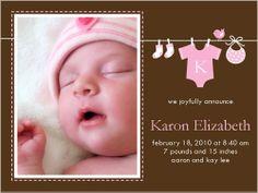 Attire Array Pink Birth Announcement