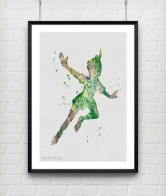 Peter Pan Disney Watercolor Art Poster Print by VIVIDEDITIONS