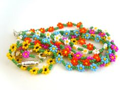Beaded Sunflower Bracelet Seed Bead Bracelet by JewelleryByJora, £5.73