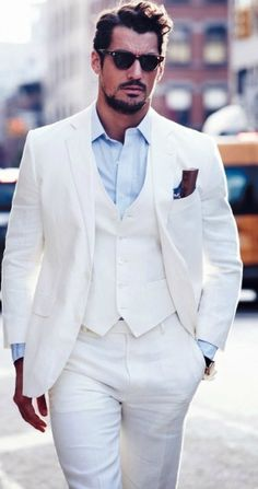 Shirt and Tie Combinations with a White Suit