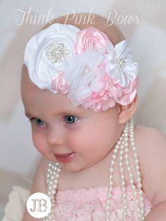 Flower Rhinestone Headband Elastic Hair Band For Baby Girls Kid Hair Accessories Shabby Chic Headbands, Floral Headbands, Newborn Headbands, Baby Girl Headbands, Baby Bows, Vintage Headbands, Rhinestone Headband, White Headband, Baby Hair Bands