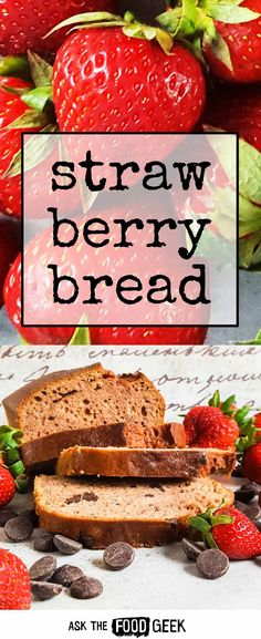 Strawberry bread with chocolate chips is a perfect way to use up farmers market strawberries. Vegetarian. Dairy free.