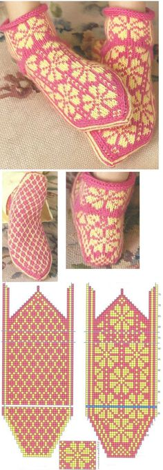 Knitting Patterns Slippers These are taken from a copyrighted book called Knitting Scandinavian Slippers and Socks by Laura Far… Norwegian Knitting, Love Knitting, Fair Isle Knitting, Knitting Charts, Knitting Patterns Free, Baby Knitting, Knitted Slippers, Ideas, Knitting