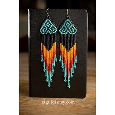 Native American Style Chevron Beaded Earrings por ZIGUIDI en Etsy