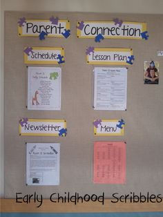 Early Childhood Scribbles: Parent & Welcome Bulletin Board - Dekor Parent Bulletin Boards, Welcome Bulletin Boards, Infant Room Daycare, Infant Toddler Classroom, Preschool Rooms, Preschool Bulletin, Preschool Parent Board, Preschool Welcome Board, Preschool Education
