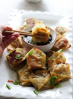 Easy Asian Dumplings with Hoisin Sesame Dipping Sauce by cookingforkeeps #Dumplings #Asian #Hoisin #Sesame