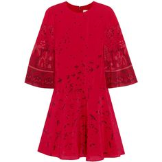 Valentino Printed silk crepe de chine mini dress (50.848.850 IDR) ❤ liked on Polyvore featuring dresses, red, short sleeve dress, red dress, short red dress, silk kimono and drop-waist dresses