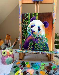 Small Canvas Art, Mini Canvas Art, Indian Art Paintings, Animal Paintings, Cool Art Drawings, Colorful Drawings, Mural Painting, Panda Painting, Pastel Art