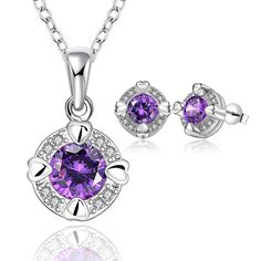 s713 925sterling silver jewelry set round tag with big purple crystal stone pendant necklace earring stud for women jewelry sets