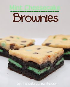 Mint Cheesecake Brownies - brownies topped with mint cookies and cheesecake http://www.insidebrucrewlife.com