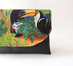 clutch bag parrot and toucan jungle print colorful clutch