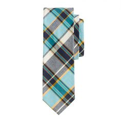 Indian cotton tie in pacific plaid $59.50