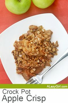 The Easiest Crock Pot Apple Crisp- Yum.. this was so easy and ended up being perfect for the girls school lunches!  I love how you can simply throw everything into the crock-pot and have a yummy dessert in just a couple hours or less.