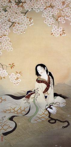 Japanese maiden admiring cherry blossoms松本華羊「伴天連お春」1916(大正5)年