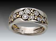 River Pebbles Ring Narrow with Diamonds