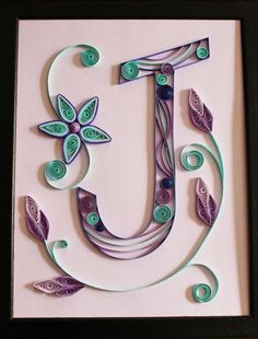 Items similar to Paper Quilled Original Artwork - Quilled Monogram Letter J - OOAK - on Etsy Quilling Letters, Paper Quilling Jewelry, Quilled Paper Art, Paper Quilling Designs, Quilling Paper Craft, Paper Crafts, Quilling Ideas, Quilling Tutorial, Filigrana Neli
