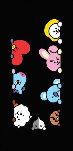Bts Wallpaper Lyrics, Bear Wallpaper, Kawaii Wallpaper, Bts Backgrounds, Wallpaper Iphone Disney, Bts Drawings, Bts Korea, Bts Chibi, Cute Cartoon Wallpapers