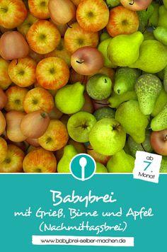 Rezept: Nachmittagsbrei mit Grieß, Birne und Apfel. Getreide-Obst-Brei für Babys ab dem 7.Monat.