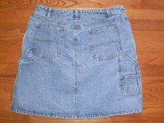 WOMENS 16 FADED GLORY blue DENIM JEAN SKIRT carpenter-style CUTE!