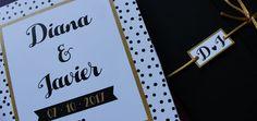 Invitacion de boda blanca, negra y dorada. Wedding gold