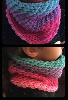 Free crochet pattern for this moss stitch neck warmer original design by DIY From Home. Matching moss stitch messy bun hat free pattern also available