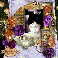 Scrapperlicious: She's A Dreamer Layout by Irene Tan using BoBunny Penny Emporium collection