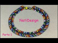 COLLAR CHOKER MULTICOLOR ESTILO HUICHOL - YouTube Beaded Necklace Patterns, Bead Jewellery, Jewelry, Collar Choker, Chokers, Beads, Videos, Diana, Key Chains