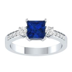 2.26ct Blue Sapphire Three Sone Engagement Two Tone Ring in 14k Gold Over Silver #RegaaliaJewels #ThreeSone