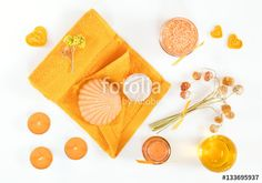 "Download the royalty-free photo ""Spa attributes sets. Honey bath salts, dry flowers, soap, cosmetic cream, cosmetic oil, candles, shell, stone and towel. Yellow orange concept. Flat lay on white background top view."" created by Victoria Kondysenko at the lowest price on Fotolia.com. Browse our cheap image bank online to find the perfect stock photo for your marketing projects!"