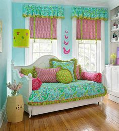 bright turquoise and pink girls room