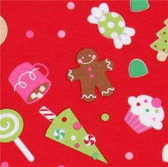 red Riley Blake Christmas fabric cute Xmas  cute fabric with many big colourful Christmas sweets from the USA