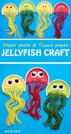 Paper plate jellyfish craft for kids. It uses tissue paper and yarn. Great ocean craft for preschoolers and kindergartners. | at Non-Toy Gifts #yarncraftsforkids
