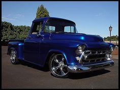 F139 1957 Chevrolet 3100 Pickup  Photo 1 Year1957 MakeChevrolet Model3100 BodyPickup Engine468 CI TransAutomatic ColorBlue InteriorGrey Web No. KC0414-181401  INV No. 131555