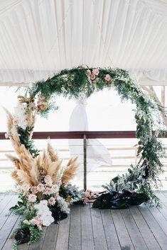 pretty pampas wedding floral wreath wedding backdrop