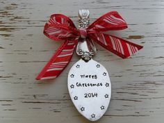 Spoon ornament Merry Christmas 2014 - red and white candy cane ribbon - stars - silver plated - antique - vintage - free shipping USA