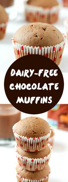 Dairy-Free Chocolate Muffins Recipe - If you are a fan of muffin recipes, you are going to love these! Perfect muffins for kids and adults! Moist and tender with the perfect chocolate flavor. (Muffin For Kids) Dairy Free Recipes For Kids, Dairy Free Baking, Dairy Free Snacks, Dairy Free Breakfasts, Dairy Recipes, Milk Recipes, Dairy Free Cupcakes, Dairy Free Muffins, Dairy Free Chocolate
