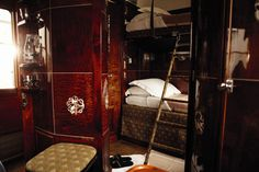 Orient Express luxury cabin... Stockholm-Copenhagen perhaps? I'd need some LV trunks though...